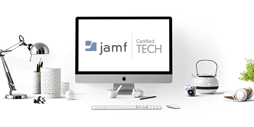 Jamf Pro online training represented by Jamf logo on desktop PC